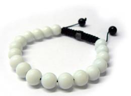 Fashion Jewelry Rope Handmade 10MM White Stone Bead Bracelet for Men