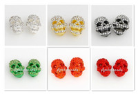 Wholesale EMS Hot Mix Colors Metal Rhinestone Pave Plated Skull Beads with Crystal