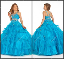 Wholesale Top Quality Ice Blue Pageant Dresses for Teens Latest Spaghetti Strap Crystal Beaded Bodice Ball Gown Little Girls Prom Party Dresses