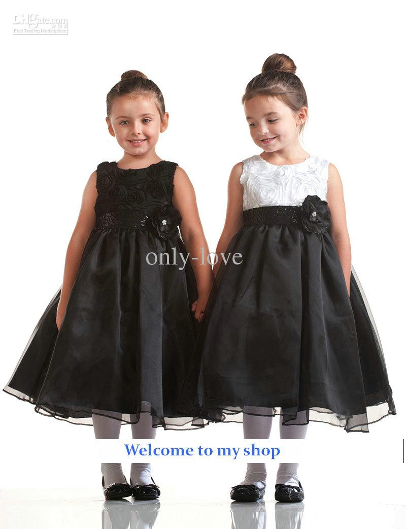 Cheap Black And White A Line Girls Pageant Dress Jewel Flower Lace ...