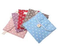 Cotton and linen Sundries  Hot Sale Fresh Polka Dot Cotton And Linen Sanitary Napkins Pouch