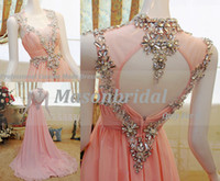 Real Photos Sweetheart Chiffon Gorgeous Shiny Swarovski Crystal Sweetheart Pink Peach Sexy Evening Dresses Prom Gowns With Open Back Short Cap Sleort Sleeves Formal Gowns