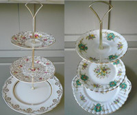 Wholesale Xmas gift Metal cake Handle tier piece cake stands vegetables Handle