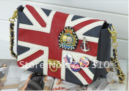 Wholesale Hot selling Women UK Flag Union Jack Badge Chain Shoulder Bag Handbag Good Qualit