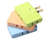Wholesale 4 Color Can Rotation Mini One To Three Candy colors Travel Plug Power Plug Adapter