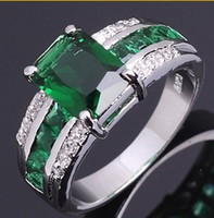 Wholesale pirate ring Emerald sapphire lady s KT white Gold Filled Ring for gift Size8 pc Freeshipping