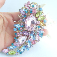 Wholesale 4 quot Pretty Leaf Flower Brooch Pin w Multicolor Rhinestone Crystals EE04912C11