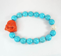 Wholesale Turquoise Stone Orange Smile Buddha Baby Blue White Beads Stretchy Prayer Mala Bracelet ZZ2325 ALV