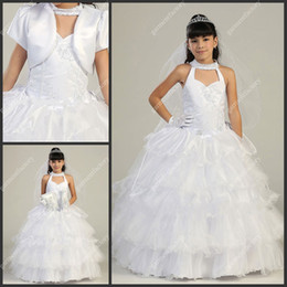 Wholesale Vintage Flower Girls Dresses For Weddings White Angel Dresses Sexy Neckine Tiered Ball Gown Girls Wedding Party Dresses with Jacket