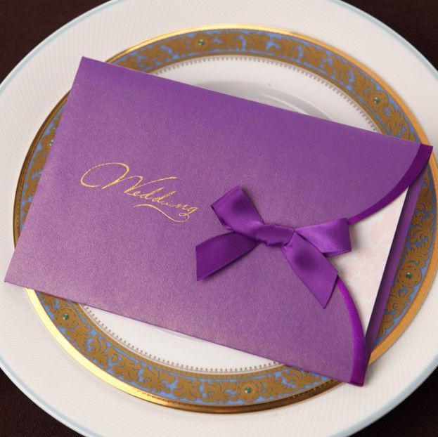 Romantic Purple Bowtie Simple Wedding Invitation Cards Purple And – Cheap Invitations Cards