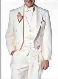 Tailcoat Ivory Groom Tuxedos Notch Lapel Groomsmen Men Wedding Suits(Jacket+Pants+Tie+Vest)H224