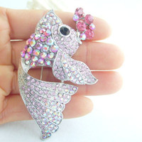 Wholesale Lovely Carp Fish Brooch Pin W Pink Rhinestone Crystals EE05066C3