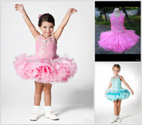 Wholesale Pink Blue Pageant Dress Ball Gown Halter Mini Cupcake with crystal and Ruffles UF1013