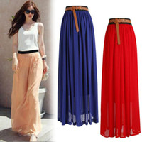 Wholesale Womens Double Layer Chiffon Pleated Retro Long Maxi Dress Elastic Waist Skirt