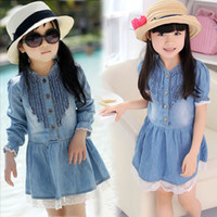 3T-4T Summer Long Sleeve Baby Girl's Denim Lace Dresses Children Summer Spring Jumpsuit One-piece Dress Cute Kids Clothes