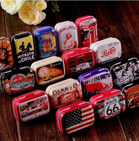 Wholesale Freeshipping Vintage Style Mixed Design tin box Collectables mini iron case storage box