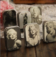 Cheap Freeshipping Sexy Marilyn Monroe tin box Collectables mini iron storage case coin box 24pcs lot