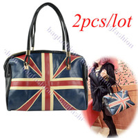 Women ladies bags uk - 2pcs New Ladies fashion UK flag shoulder bag messenger bag lether handbag 11583