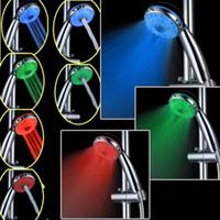 Stainless Steel adjustable color temperature led - Temperature Sensor Shower Mode LED Shower head RGB Adjustable Color changing A21