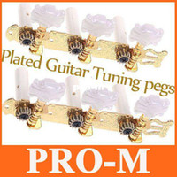 Wholesale 2 Classical Gilding Guitar Tuning Pegs Keys Machine Heads Tuner Made of gold plate and plastic I49