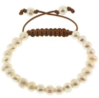 Wholesale Freshwater Pearl Shamballa Bracelet round pearl beads with black wax cord handcrafted
