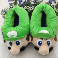 Wholesale Cheap slippers Super Mario Luigi Bros plush slippers warm Luigi slippers top antiskid
