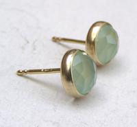 14k gold earrings - 14k Gold Plate Aquamarine chalcedony studs earrings
