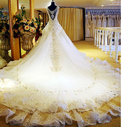 Wholesale new products for A Line V Neck Sheer Straps Royal trailing Beaded rhinestone wedding dress H01