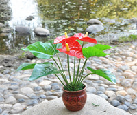 Cheap Small 12 anthurium bonsai artificial tree plants bonsai artificial leaf artificial flower artificial flowers