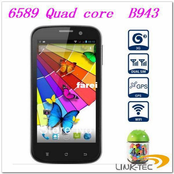 ! 2013 phone MTK 6589 Phone 1g android 4.1 3MP Webcame B943 Quad core