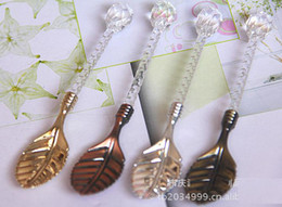 Wholesale Crystal handle leaves small spoon