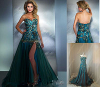 Reference Images Sweetheart Tulle Sweetheart Peacock Appliqued A-line High slit zipper back Prom Dresses Bestoffers 42660