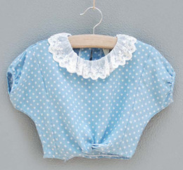 Wholesale Girls Wraps Children Cute Lace Collar Wraps Light Blue Short Sleeve Coats Kids Star Pattern Wraps