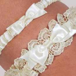 Wholesale Retail Ivory Lace and Bow Wedding Bridal Garters Exquisite Elastic Custom Made Wedding Garters