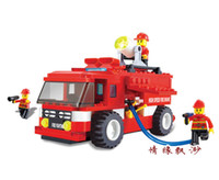 Cheap Free shipping Firetruck fire truck series DIY children fight inserted simulation puzzle plastic model toys