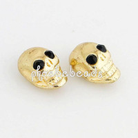 Wholesale New Fashion Gold Metal Skull Beads with Black Crystal Eyes MSB005A