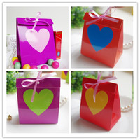 Wholesale HOT SELL Rainbow Hearted Candy Boxes Birthday Party Favor gifts Wedding Paper Candy Box