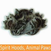 Wholesale Top Quality Faux Fur Animal Hats Spirit Hoods Cartoon Caps Gloves Paws Scarf Multifunctional Drop