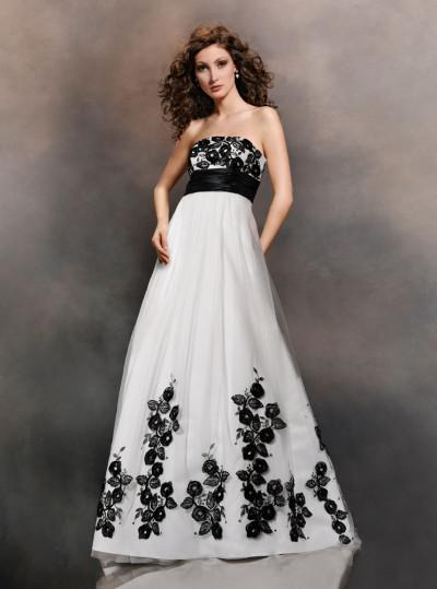 Black And White Wedding Dress Bridal Gown With Appliques
