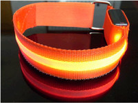 Wholesale Orange Mesh Style LED Flexible Flashing Safety Armbands Red Orange Yellow Blue