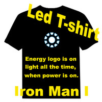 Wholesale Good Quality Iron Man Iron Man I EL T shirt Manual control led t shirt Sound Activated EL T shirt Equalizer T shirt EF228
