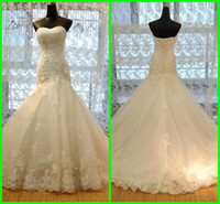 Wholesale Vogue Sexy Mermaid Trumpet Sweetheart Floor length Court Train Beaded Applique Wedding Dresses D558