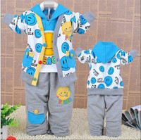 Wholesale 3sets cotton smile cartoon casual baby suits set coat white t shirt pants Blue