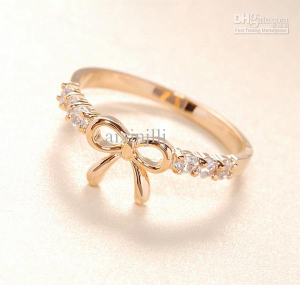Hollow Bow Rings Diamond Pinky Ring Couple Band Rings Jewelry Rings Band Ring