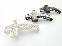 Wholesale DIY Jewelry Findings Crystal Rhinestone Cross Curved Sideways Connector Rows Free Shippi