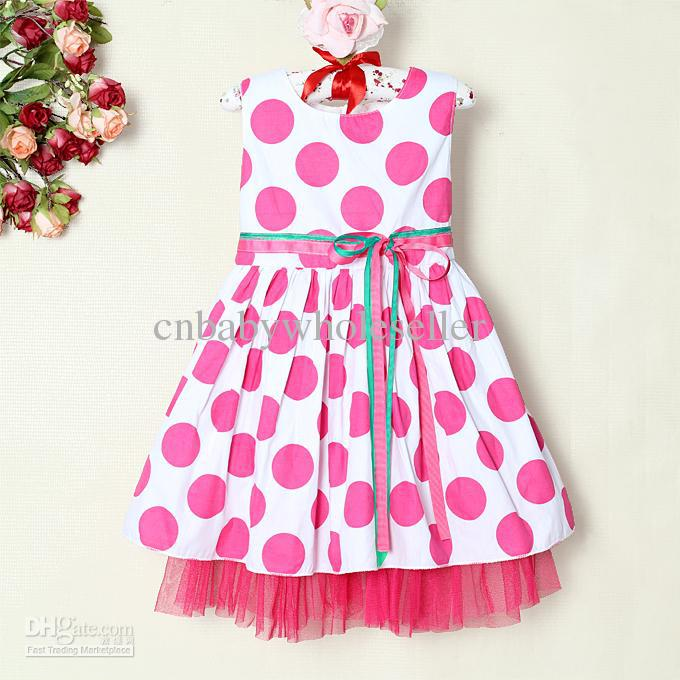 New Arrival Cute Baby Girls Cotton Dress With Hot Pink Polka Dots ...