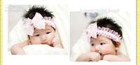 Precio de Bandas para la cabeza de encaje blanco para bebés-bebé niño de chicas de color rosa de encaje blanco diademas diadema grande de gasa arco boutique de accesorios de protección para la cabeza