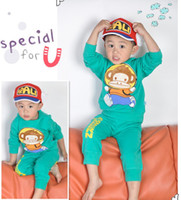 Wholesale Spring Cotton Red Long Sleeve Monkey Kids Set Shirt Pants Child Set Children Clothing