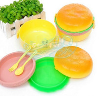 Wholesale Cute hamburger lunch box tableware lunch box Drop Shipping Free A0170