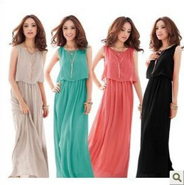 Wholesale Women Bohenmia Pleated Wave Lace Strap Princess Chiffon Maxi long dress